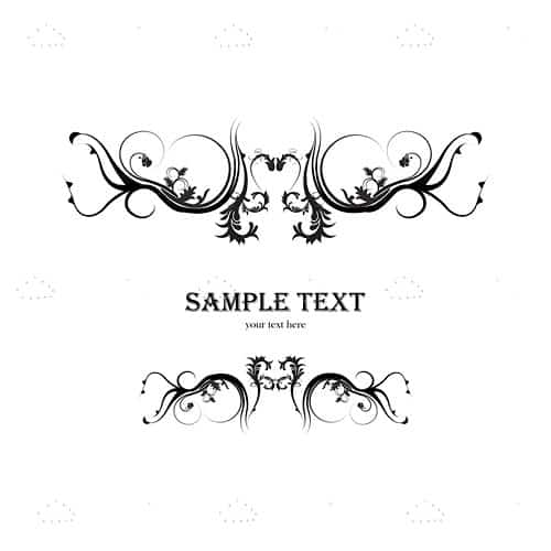 Abstract Black and White Floral Background with Sample Text
