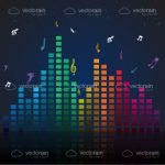 Colorful Volume Bars Chart with Musical Notes