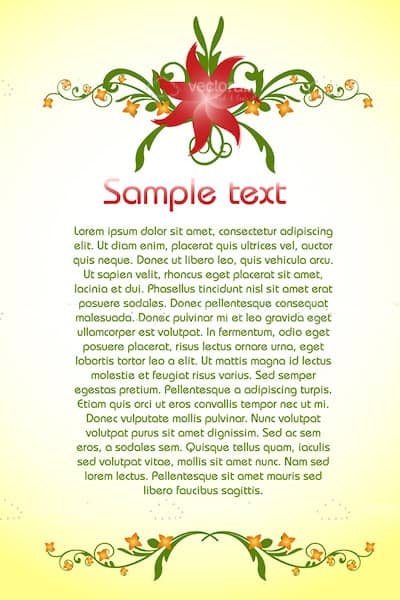 Classic Floral Styled Background with Sample Text