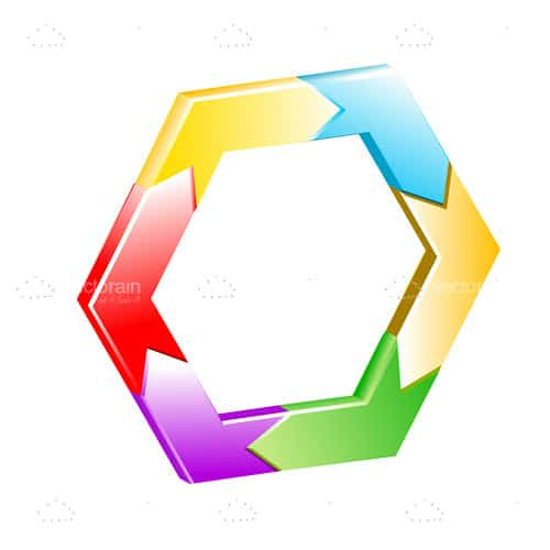 Hexagon with Colorful Arrows