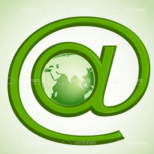 """At"" Icon with Earth Globe"