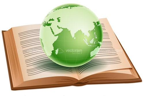 Green Globe on Open Book