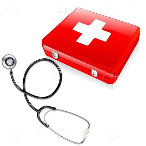 Stethoscope and Red First Aid Kit with White Cross