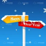Happy New Year on a Direction Sign