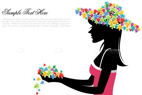 Silhouette of Woman with Flower Hat and Sample Text