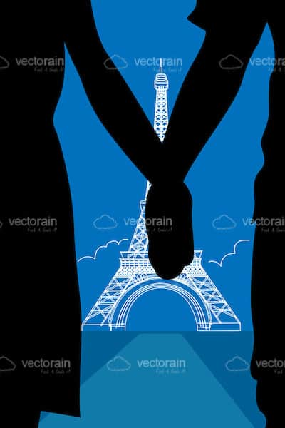 Man and Woman Silhouettes Holding Hands with Eiffel Tower Background