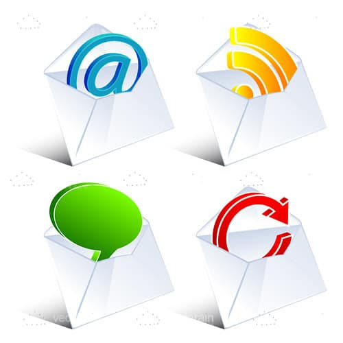 Internet Icons in Envelopes