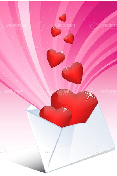 Red Hearts Escaping a White Envelope on a Pink Background