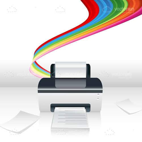 Printer Machine with Multicolor Band Background