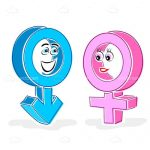 Cartoon Gender Symbols with Faces
