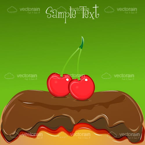 Delicious Cake with Red Cherries and Sample Text