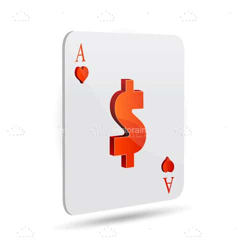 Ace Playing Card with Dollar Sign