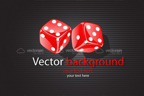 Red Rolling Dice on a Dark Gradient Textured Background