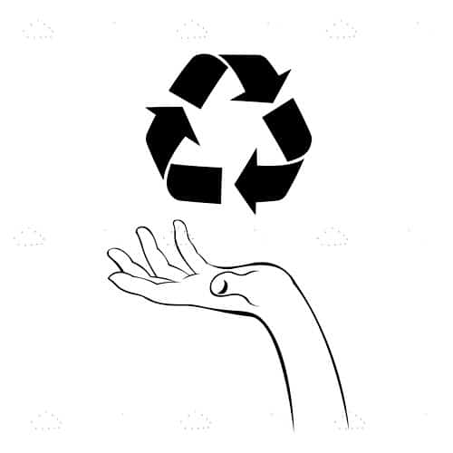 Open Hand Below Recycling Icon