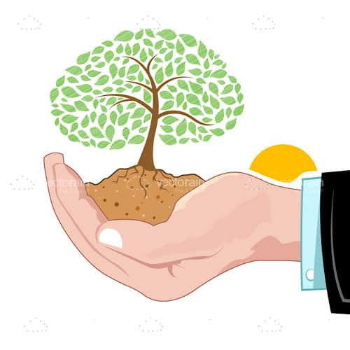 Abstract Tree with Ground Root Growing from Human Hand