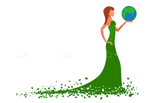 Lady in a Green Dress Holding a Globe