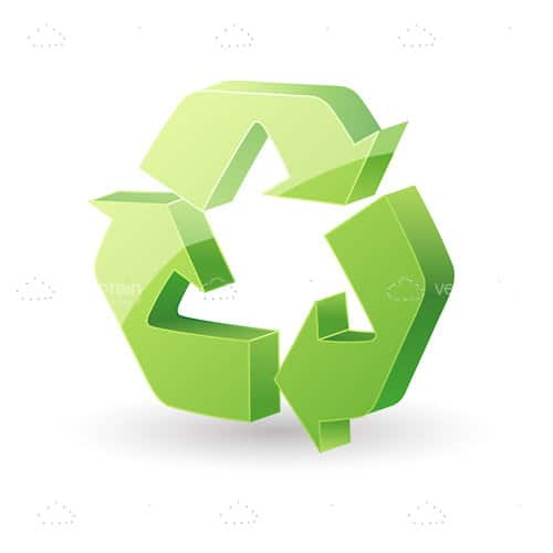 Green Recycle Icon with Unidirectional Arrows