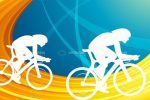 Cyclists Silhouettes on Abstract Background
