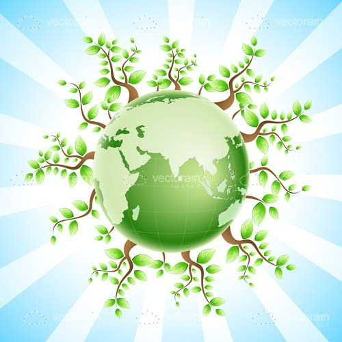 Green Earth Globe with Leafy Trees