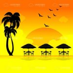 Beach Scene with Sunset Colors and Tropical Silhouettes