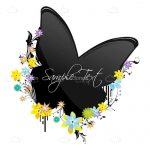 Black Butterfly with Colorful Flowers