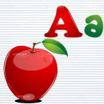 Red Apple with Letter A's on Notebook Page Background