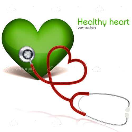 Green Heart with Stethoscope and Sample Text