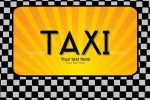 Yellow Taxi Sign on Black and White Background with Sample Text