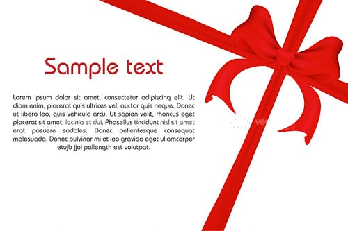 Beautiful White and Red Gift with Red Bow and Sample Text
