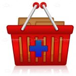 Red Shopping Basket with Blue Cross