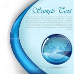 Blue Curved Background with Earth Globe and Sample Text