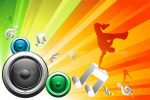 Music Themed Background with Loudspeakers and Breakdancer Silhouette