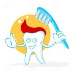 Happy Tooth in Cartoon Style with Toothpaste and Toothbrush