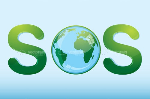 Abstract SOS Sign with Globe Icon