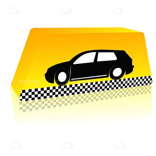 Yellow Taxi Sign with Black Car