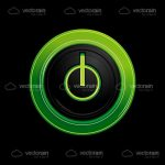 Power Button Icon in Neon Green and Black