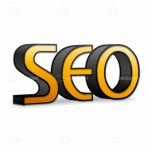 Large SEO Logo Text in Orange and Black