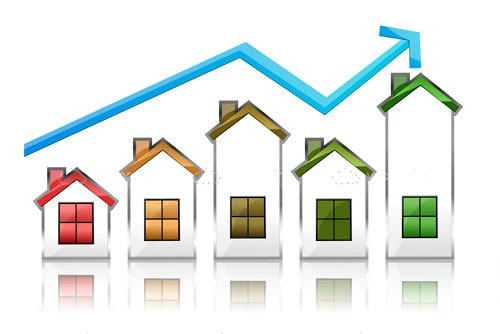 Growth Graphic with Abstract Houses