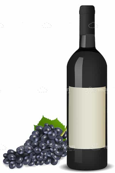 Bottle of Wine with Purple grapes