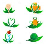 Abstract Plants and Flowers Icon Set