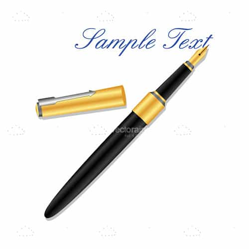 Elegant Fountain Pen with Sample Text