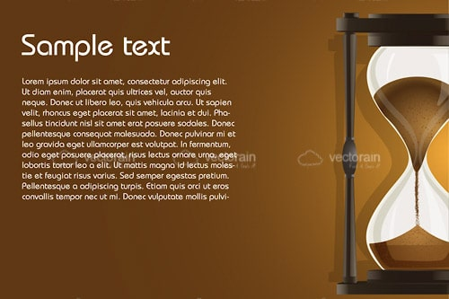 Brow Sand Filled Hourglass Background with Sample Text