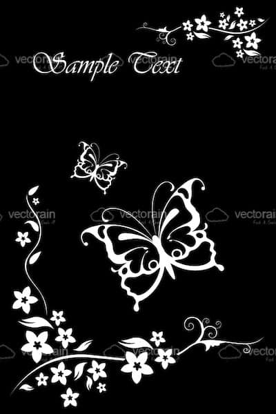 Abstract Butterfly Floral Background in Black and White