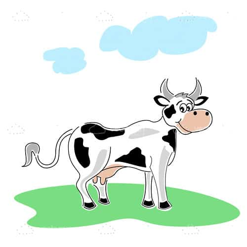 Happy Cow in Cartoon Style