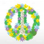 Colourful Floral Peace Sign