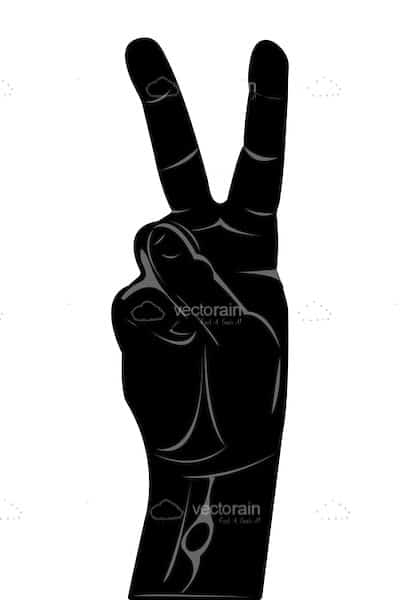 Abstract Hand Silhouette with Victory/Peace Sign