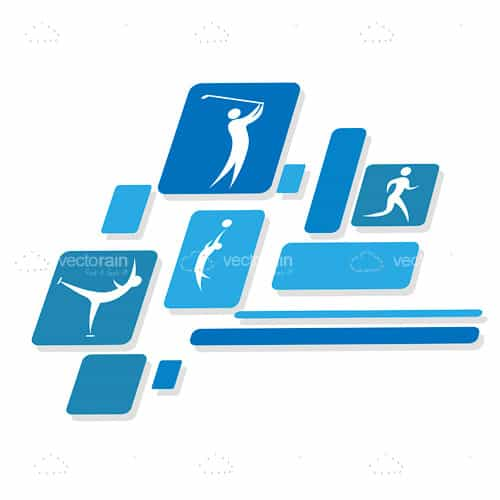 Abstract Sports Mosaic Icons
