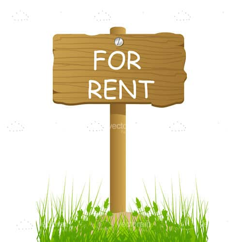 For Rent Text on Wooden Sign