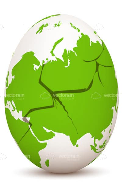 Cracked Egg with Globe Print in Green