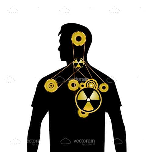 Silhouette Male with Cogs, Wheels and Nuclear Logo